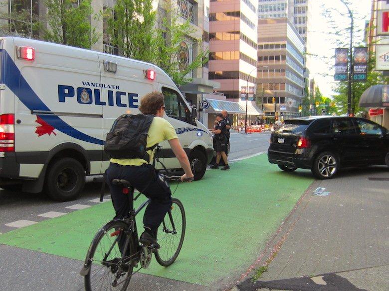 Bike lane blocked again