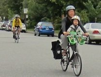 Mother-and-son-biking in Vancouver