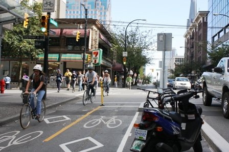 The Dunsmuir Street separated bike lane in downtown Vancouver