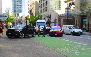 Hornby bike path in Vancouver blocked by police cars