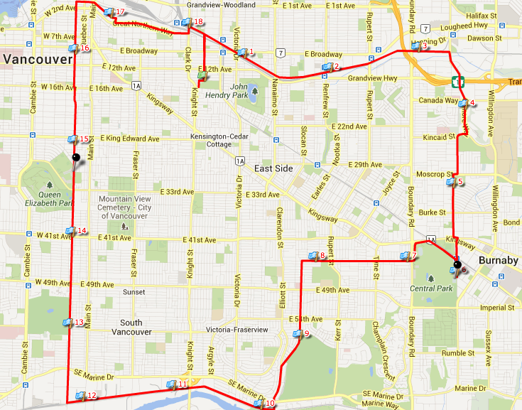 30 km route for MS Bike Tour Vancouver