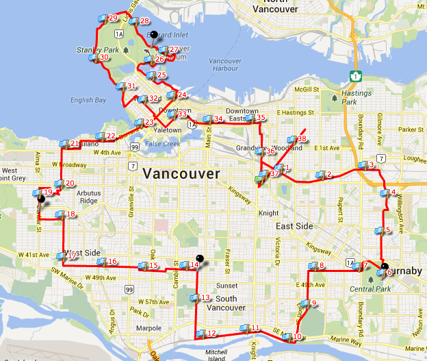 60 km route for MS Bike Tour Vancouver
