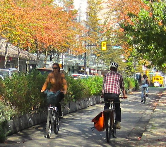 Biking on Hornby in the Fall