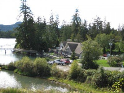 Fuse Restaurant on Sooke Basin, as seen from the Galloping Goose Trail – no need to risk life and limb cycling into Sooke for a meal while this restaurant is right next to the trail! Cycling in Sooke