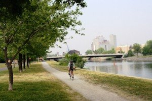 Me cycling hundreds of miles in Montreal - thanks to finding a cure for cycling knee pain