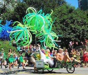 Canada's Green Party MP Elizabeth May, looking resplendent at Vancouver Pride - Vancouver cycling culture