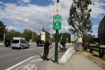 South entrance to the Burrard Bridge separated bike lane