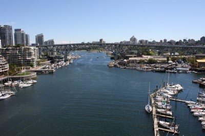 The stunning view of False Creek from the new, separated Burrard Bridge Bike Lane