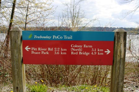 Signage at the Poco Trail in Port Coquitlam, BC