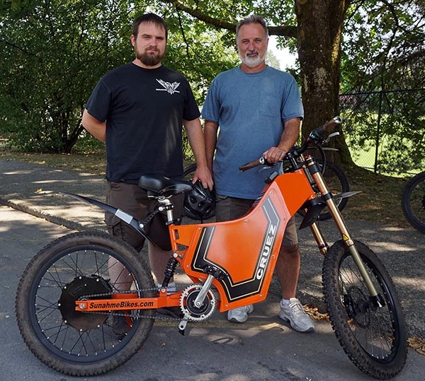 Keith and Don Suhan with one of the Sunahme electric bikes they design and build on Vancouver Island