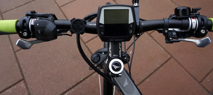 Haibike Xduro Trekking Pro Review. View from the top - the handlebars of the Haibike Xduro Trekking Pro