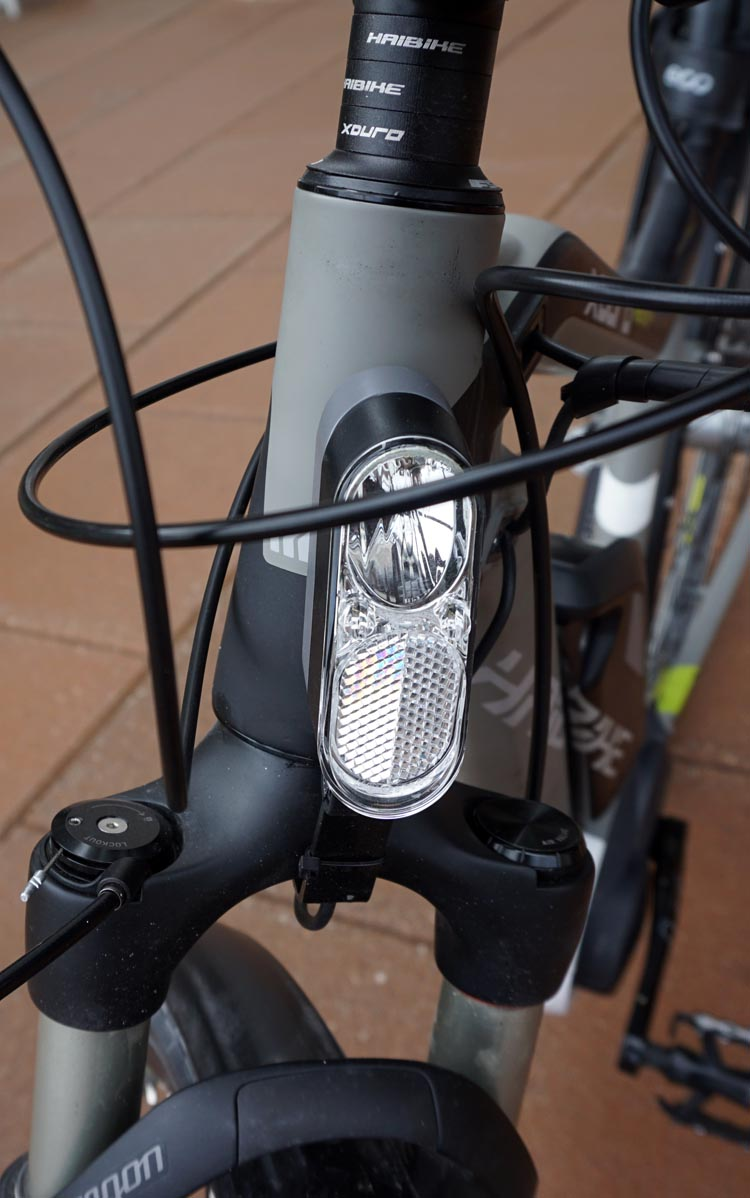 Haibike Xduro Trekking Pro Review. The front and rear integrated lights run directly off the motor. Use them all the time - even in the daytime they make you much more visible, and might just save your life