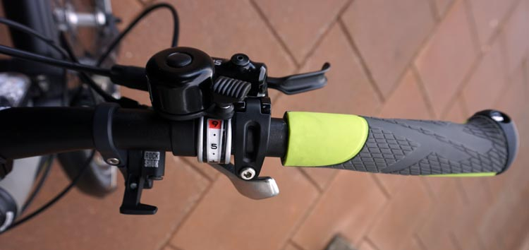 Haibike Xduro Trekking Pro Review. Right hand controls on the handlebar of the Haibike Xduro Trekking Pro. Note that I have put a tiny, right-handed bell on the top. Cheap but great safety feature