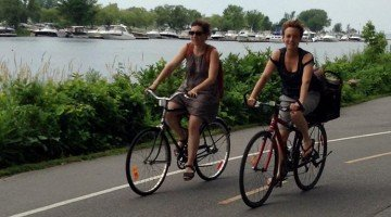 Cyclists on the Lachine Canal Bike Path