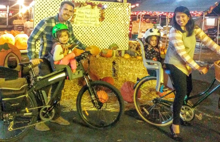 "Nick Switzer with his family and their electric bikes - they are definitely not into ""bad-ass rides""!"