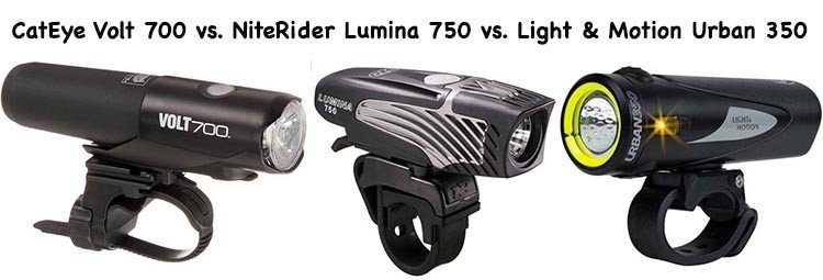 3 of the best bike lights for commuter cyclists – Light & Motion Urban 350 vs. CatEye Volt 700 vs. NiteRider Lumina 750