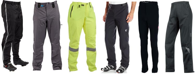 7 of the Best Waterproof Cycling Pants. Left to right (not order of ranking 1e2a1b4af