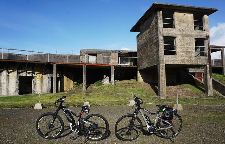Riding Ebikes on the Trails at Fort Stevens State Park, Oregon. Our Haibikes in the Fort Stevens historic area