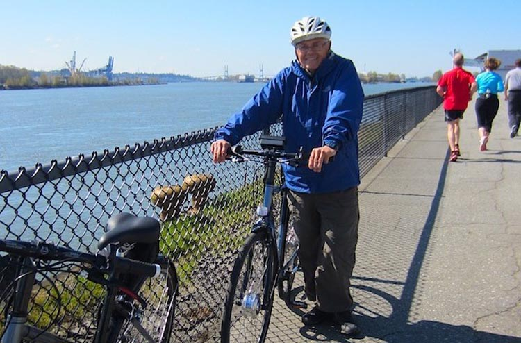 How E-Bikes Can Help Couples to Cycle Together, Ron Wensel with the e-bike he designed himself