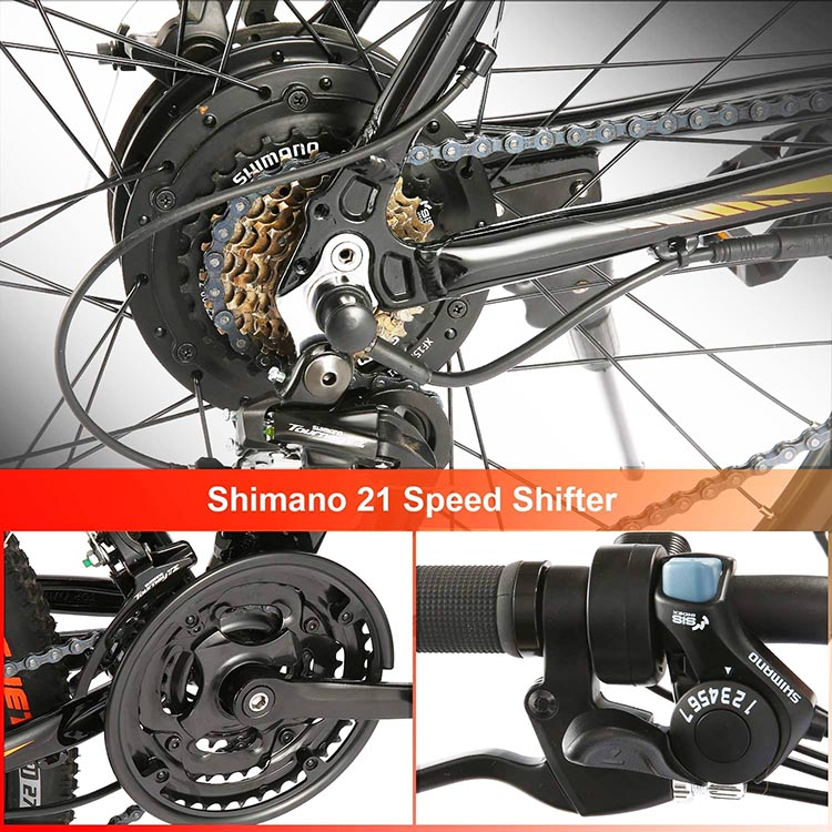 Best Cheap Ebikes. The Ancheer mountain ebike has a hub motor, meaning that the motor directly turns the rear wheel hub, propelling the bike powerfully forward. It also has 21 Shimano gears, to make the hills that much easier